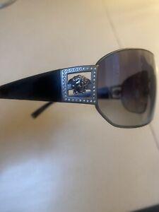 Versace Mens Diamanté Designer Sunglasses 2031-B Wraparound Black With Grey Lens