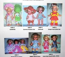 """NG Creations Seven Sewing Patterns fit 13"""" Galoob Baby Face Doll"""