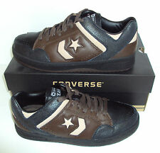 CONVERSE Men's Weapon Euro Ox Black & Brown Leather Trainers Shoes Size UK 8
