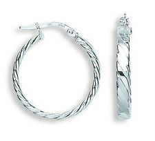 9carat White Gold 20mm Flat Twisted Round Hoop Earrings Weight 1.7G Hallmarked