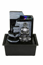 Buddha Indoor Tabletop Water Fountain Black Silver with LED Light