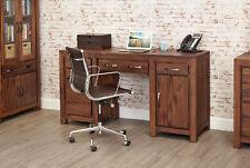 Mayan Solid Walnut Dark Wood Double Pedestal Large Home Office Desk Workstation