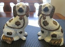 """Antique Victorian Copper Luster Staffordshire King Charles Spaniel Dogs 9"""""""