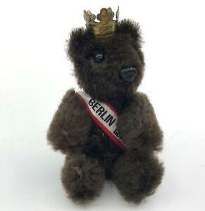 Schuco Heike Berlin Good for You Sash Crown Teddy Bear 1980s 3in Plush on Metal