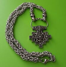 Viking Dragon Chain with York Hiddensee Thor's Hammer Pewter Pendant Necklace
