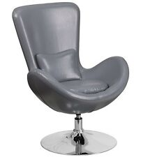 Flash Furniture Gray Leather Egg Series Reception-Lounge-Side Chair New