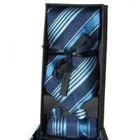Set coordinato uomo cravatte  con gemelli e pochette celeste/blu fantasia righe