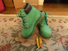 Timberland Classic BRIGHT Green Nubuck Lace Up Waterproof ankle Boots Kids sz 9