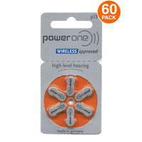 PowerOne Hearing Aid Batteries PR48, p13, SIZE 13 (60 Batteries) MF