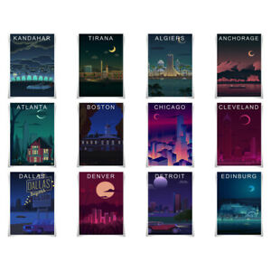 Famous Cities Night View Poster Painting Prints Global Travel Poster Wall Art