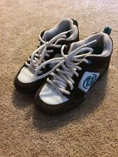 Heelys White Brown Turquoise Suede Leather Women's Roller Skate Shoes Sz 6