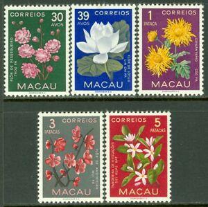 EDW1949SELL : MACAU 1953 Scott $377-81 Flowers Top values VF, Mint OG LH Cat $50