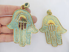 Gold Verdigirs Hamsa Hand Fatima Spiritual Evil Eye Buddha Charms Pendant 72mm