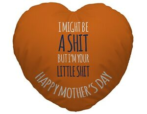 Little Sh t Design Heart Shaped Cushion Funny Mother's Day Gift
