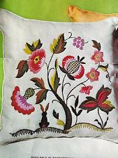 "Vtg Floral Jacobean Pillow Kit Wool Crewel 100% Linen Fabric 14"" Paragon #0540"