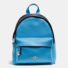 🌻 Coach 37690 Mini Campus Backpack In Bicolor Silver Navy Azure Bag NEW AUTH🌻