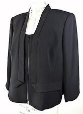 ❤️LAFAYETTE 148 Jacket 18 Black Formal Evening Zip up Acetate Womens 1001❤️