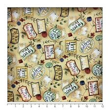 Fabric, Clothworks, Tea Party Light Khaki Y0547-11, 100 % cotton, by the yard