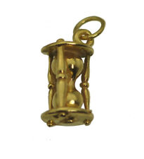 24K Gold Plated Solid Sterling Silver 3D Hour Glass Sand of Time charm Jewelry