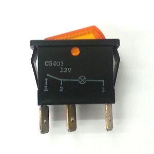 Arcolectric C5403ATBA7 SPST ON-OFF 12V Amber Lighted Rocker Switch 16A 250V AC