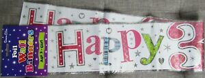 Holographic Foil Party Banner  - Girls Happy 3rd Birthday