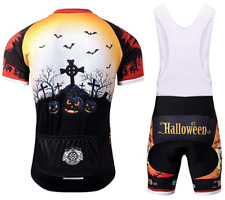 NEW Thriller Rider Mens Halloween Cycling Mountain Bike Short Sleeve Bib Suit, S
