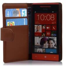 Für HTC 8S 8 S Buch Tasche Flip Case Schutzhülle Hülle Wallet braun