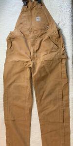 Carhartt  Brown Bib FR Cotton Carpenter Overalls Men Size 38x34