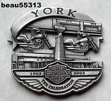 """""""OFFICIAL"""" HARLEY DAVIDSON 2003 100th ANNIVERSARY YORK FACTORY VEST JACKET PIN"""