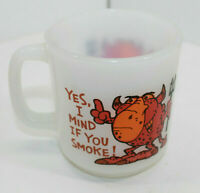 Vintage Glasbake Milk Glass Coffee Mug Cup Yes I Mind If You Smoke USA
