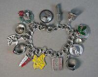 "Vintage Sterling Silver Double Link Charm Bracelet w/15 Charms 7"" Signed #J2879"