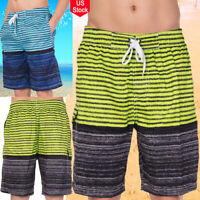 Surfing Men Quick Dry Swim Trunks Stripe Beach Sports Shorts With Mesh Lining US