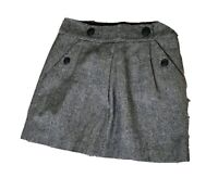 BANANA REPUBLIC 100% Wool Grey Mini Skirt 8 36 XS Petite