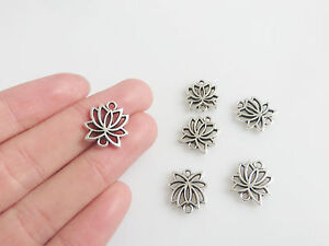 30 x Tibetan Silver Lotus Flower Charms Pendants Connectors Double-Sided 16x15mm