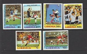 LIBERIA - 820-825 - ( IMPERF) MNH -1978 - WORLD CUP SOCCER GAME WINNERS