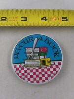Vintage DEVOUR A BOOK Pro Reading Library pin button pinback *EE82