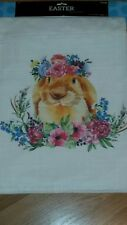TABLE RUNNER with EASTER BUNNY RABBIT & FLOWERS 13x72 NWT