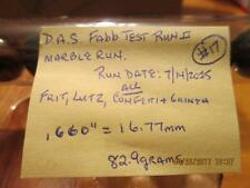 """Marble Tube of 13-D.A.S. FABB II Marble Test Run#17-.660""""=16.77mm-USA Made."""