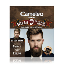 Delia CAMELEO MEN Grey Off Color LIGHT BROWN Hair Beard & Mustache 2 SACHETS