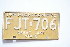 1970 Michigan License Plate Tag Great Lake State FJT 706