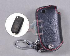 Genuine Leather Remote Key Chain Holder Case Cover FOR Volkswagen SKODA OCTAVIA