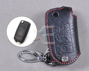 Genuine Leather Remote Key Chain Holder Case Cover Fit for VW SKODA OCTAVIA