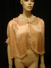 30s Vintage Luscious Peach Tissue Silk Bed Jacket M-L