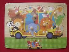 9-delige houten inlegpuzzel met noppen - Noah's dieren - Puzzle en bois 9pcs