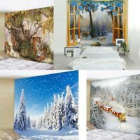 Christmas Elk Tiger Tapestry Room Wall Hanging Decor Snow Xmas Gift Tapestries