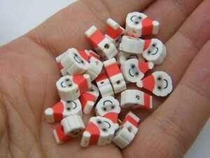 30 Father Christmas Santa beads random mixed polymer clay CT43
