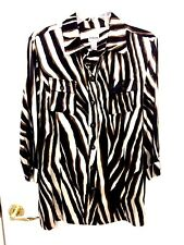 CHICO'S BLOUSE SIZE 2  BROWN MULTI ANIMAL PRINT LONG SLEEVE FRONT BUTTON CLOSURE