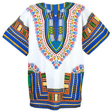 Cotton African Dashiki Mexican Poncho Hippie Boho Shirt Blouse White ad12ws