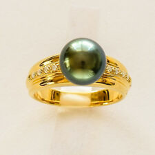 TAHITIAN PEARL RING 9.5mm CULTURED PEARL REAL DIAMONDS 14K 585 GOLD SIZE O NEW