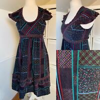 Vintage Black Cord Fit & Flare Midi Dress Size 10 Floral Tartan Frilled